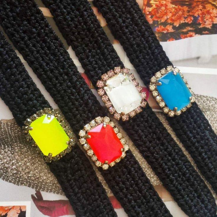 Black Statement Bracelet with Swarovski Vintage Brooch, Statement Bracelet, Luxury Bracelet, Jewelry, Worldwide Shipping by GlowHandmade on Etsy