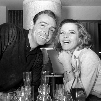 "Sean Connery/Honor Blackman on the set of ""Goldfinger"""