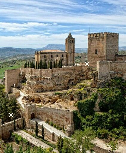 """CASTLES OF SPAIN - Castle of Alcalá la Real, Jaén. After the Muslim conquest in 713, the town was renamed Qal'at, an Arabic term meaning """"fortified city"""". In the following centuries, Umayyad caliph Al-Hakam II (971-976) had a series of watchtowers built to defend the city from the Viking/Norman incursions. Around the year 1000 the main of these tower, the Mota, became a true fortress, one of the mainstays of the Al-Andalus defence against the Christian Reconquista."""