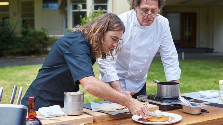 Apple Tart Fine withcaramel sauce - MasterChef Australia 2015 MasterClass by Shannon Bennet and Marco Pierre White