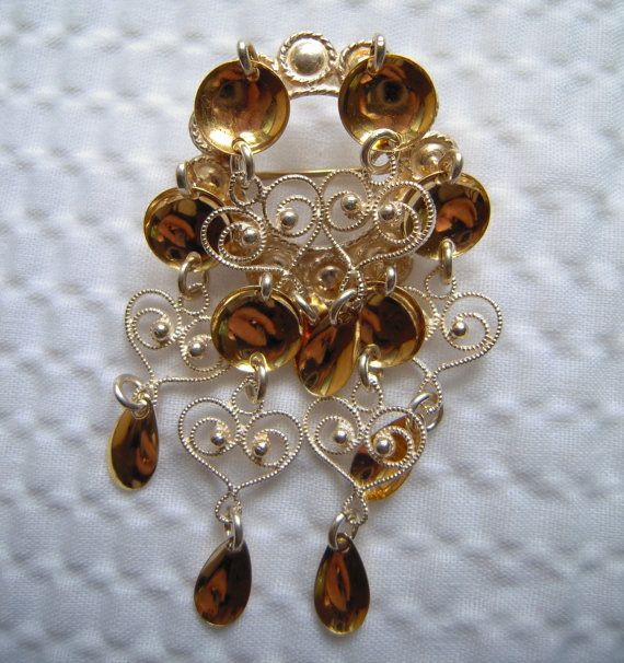 Lovely Vintage Solje 830S Norwegian Wedding Brooch.