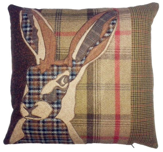 tweed mixed fabric animal applique hare rabbit deer country natural wool