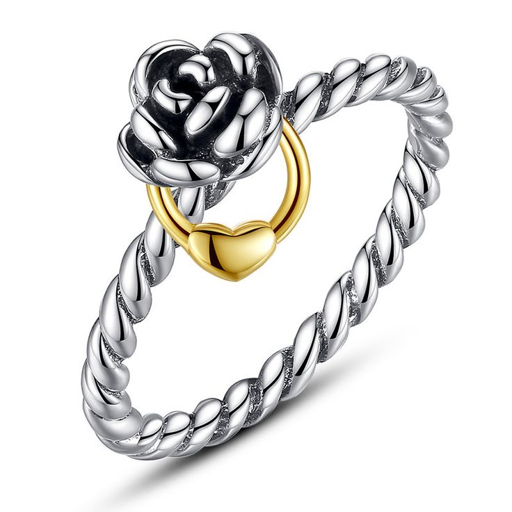 Anello con fiore e laccio con cuore in argento e oro placcato Compatibile con misura europea e anello di fidanzamento originale Ring 7207 di OceanBijoux su Etsy