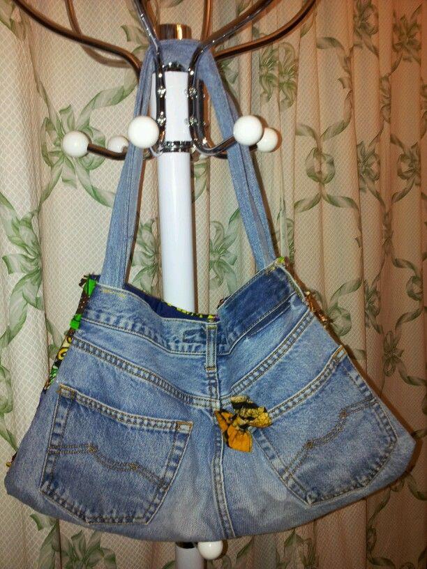 Sac en jeans et tissu patchwork (recto)