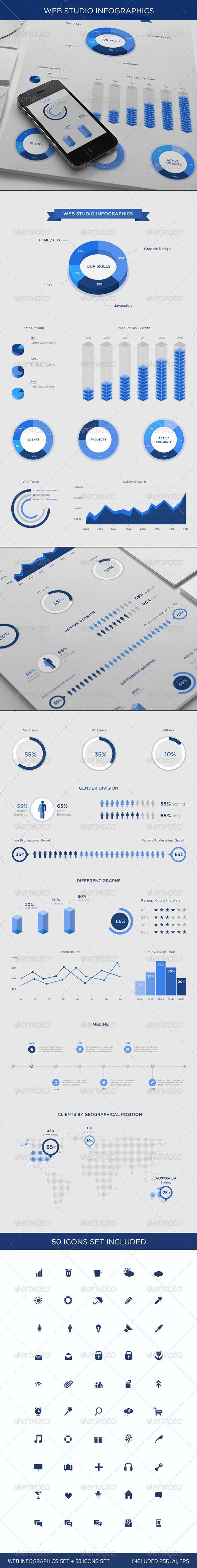 Web Studio Infographics Set — Photoshop PSD #infographics #print infographics • Available here → https://graphicriver.net/item/web-studio-infographics-set/6316926?ref=pxcr