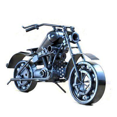 10.5 inches Metal Chopper Motorcycle Sculpture-Metallic Black