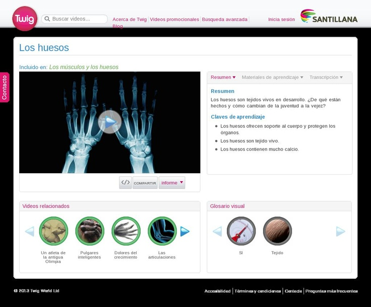 Vídeo. Los huesos. Qué son, cómo son, como cambian.... The website http://santillana.twig-world.es/films/los-huesos-2411/ courtesy of @Pinstamatic (http://pinstamatic.com)