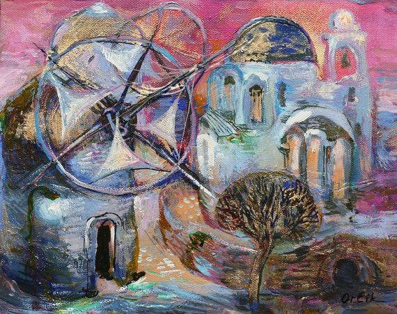 Original Small Painting Acrylic colors 30x24cm Modern Art on canvas Wall Decor by Inna Orlik