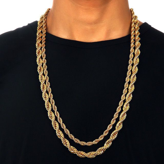 """Men's 6 mm / 9 mm thick 30 """"Long <b>Solid</b> Rope Chain 24K Yellow ..."""