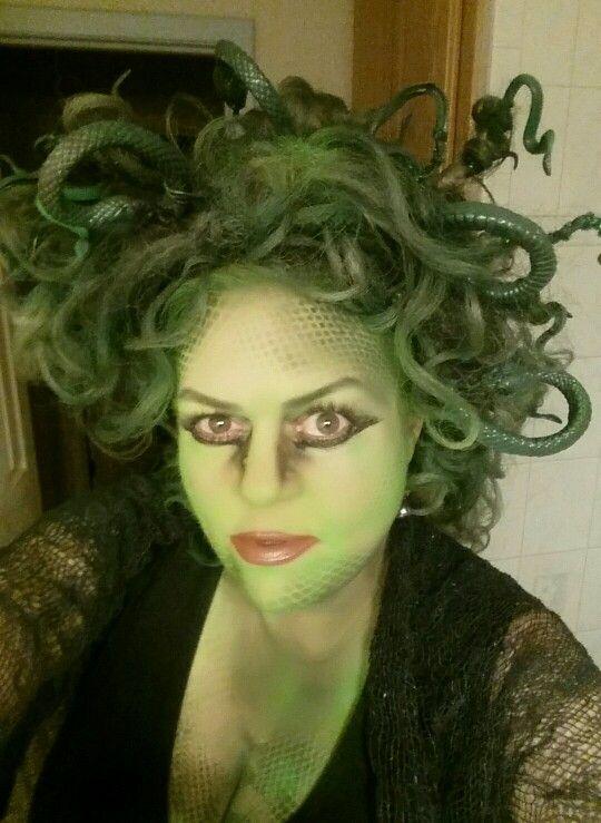 Dollar store snakes and green hair spray make fun DIY Medusa.