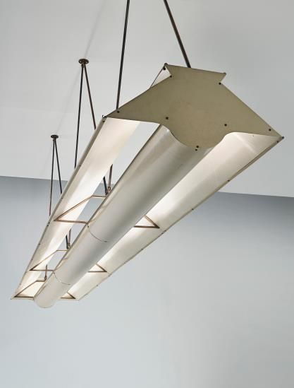 CARLO MOLLINO Unique ceiling light, from the Franca and Guglielmo Minola House, Turin , circa 1944-1946 Painted metal, brass. 43 x 119 x 18 3/4 in. (109.2 x 302.3 x 47.6 cm) Produced by Corrado, Turin.