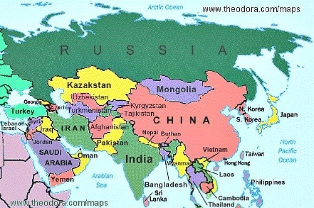 Map Labeled Oceans Asian Map Quiz Map Of Asia Labeled Asia Country