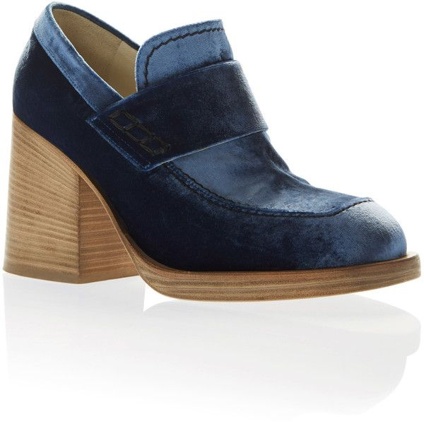Marni Stacked Heel Moccasin ($790) ❤ liked on Polyvore featuring shoes, navy, chunky heel shoes, navy blue moccasins, marni shoes, mocassin shoes and navy shoes