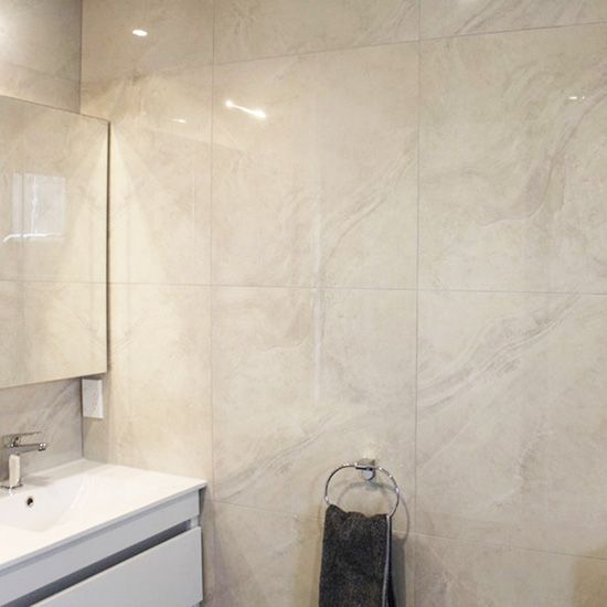 Moles worth gloss tile in frost. 300mm x 600mm; 600mm x 600mm