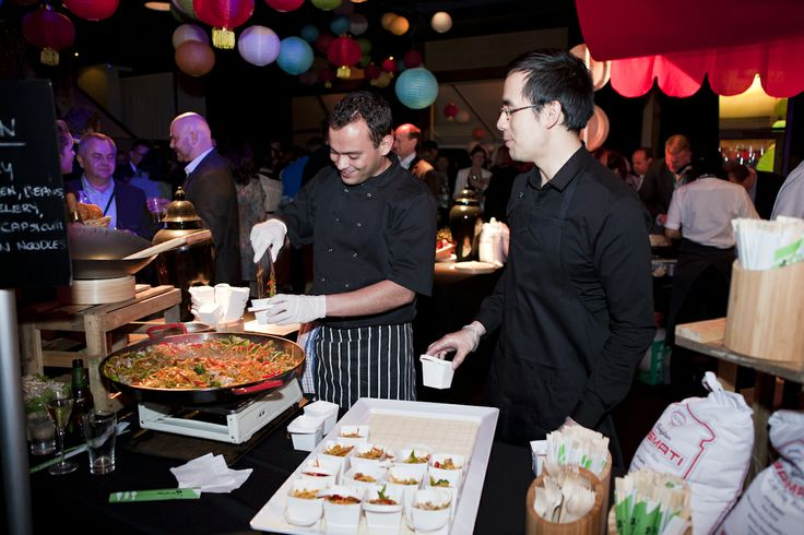 Food stations at Showtime Events Centre, South Wharf.