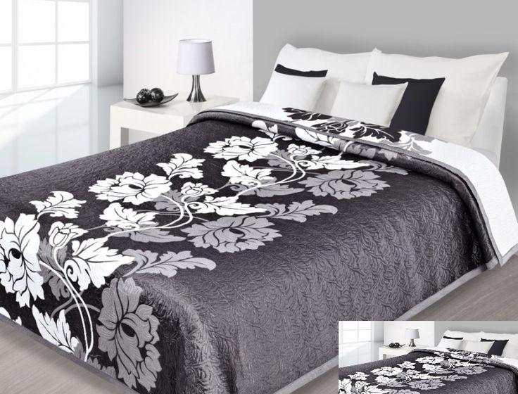 Obojstranné prehozy na postele čierno bielej farby
