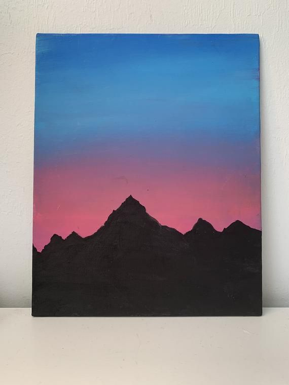 Easy Mountain Sunset Painting : mountain, sunset, painting, Acrylic, Mountain, Sunset, Painting, Painting,, Simple, Canvas, Paintings
