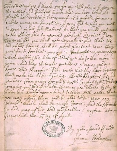 Letter from Anne Boleyn, with her signature, 1529