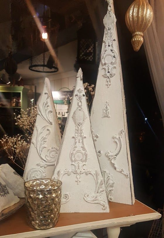 Christmas trees made with Iron Orchid Designs Moulds