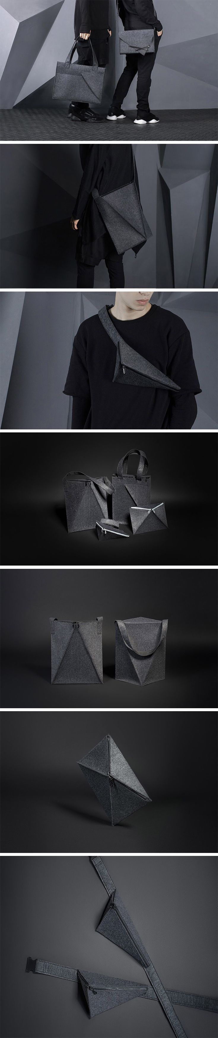 The Slice collection of cozy carryalls consists of two shopper bags, a waist bag, a cross-body satchel and a case-clutch. Inspire by the big city, the line channels the stark grey coloring and geometric figure of many skyscrapers. Made of felt, each is piece is simultaneously soft and tactile yet rigid and dense. The seams are purposefully crafted to ensure the bags stays as flat as possible – hence the name Slice. #Satchels