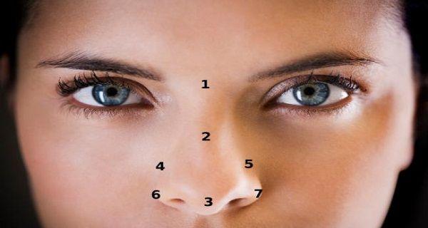 Secretele: Activarea prin presopunctura a acestor zone de pe nas atrage fericire si prosperitate! Reprezentare grafica