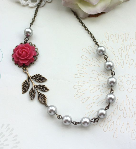 Wedding Jewelry Bridesmaid Necklace. A Sweet Pink Rose