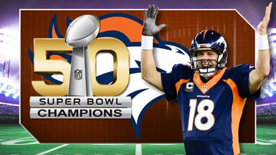 Broncos are Superbowl #50 Champions! Love me some Peyton Maning...