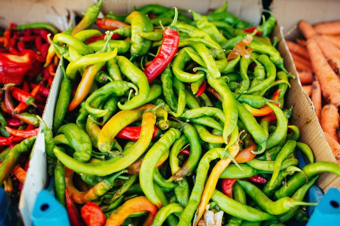 Check out Green and Red Pepper at the Market by odpium on Creative Market
