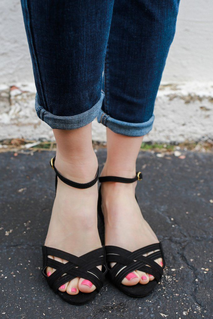 Faux Suede Cupped Ankle Strappy Peep Toe Flats