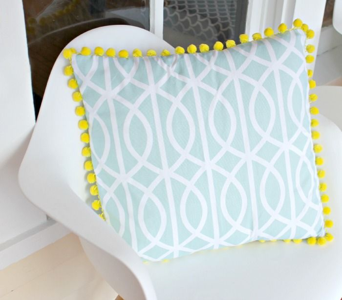 How To Make Cute Pillows Out Of Fabric : USD3 Fabric Napkins to {cute} Pom Pom Pillow Cover Pom poms, Throw pillows and Diy pom poms