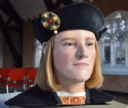 The reconstructed head of Richard III has now been given blue eyes and fair hair after DNA tests showed him to be blond