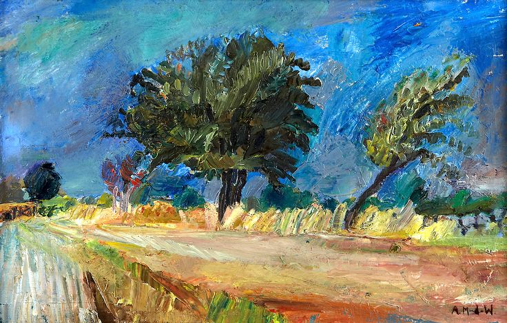 """Road, Öland"". Astrid b. Munthe the Wolfe (b. 1926) is a Swedish artist.  Intensity and color characterizes her figure paintings , landscapes and still lifes ."