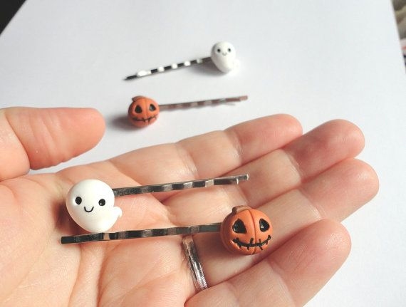 Halloween hairpins Ghost and Pumpkin in polymer by AudreyPinkStyle