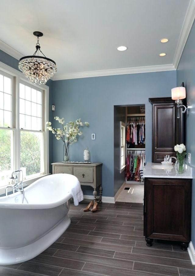 Blue Walls Grey Floor Grey Wood Floors Are The Upcoming New Thing Nice Cool Tones And Very Unique Look Great Wit Blue Bathroom Bathroom Makeover Bathroom Color