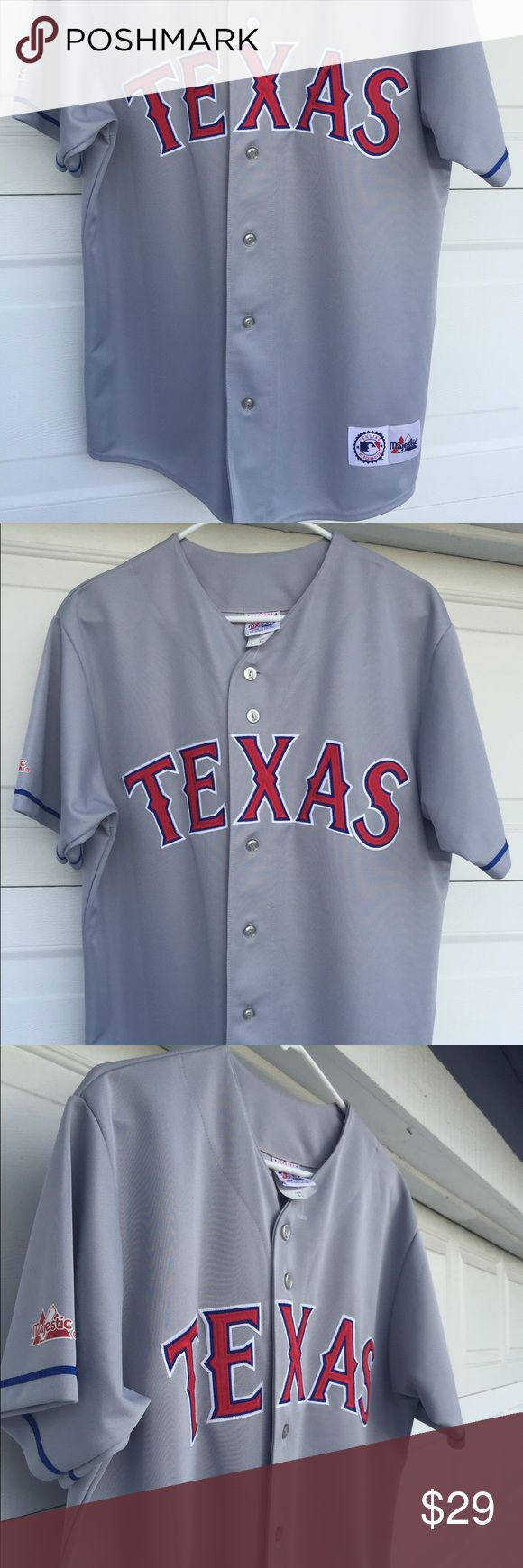 Texas Rangers replica jersey. Measures sixe 46. Texas Rangers replica jersey. Measures sixe 46. Very good shape. Photos cropped because iphone images too large. Nice for your collection. Majestic Shirts Casual Button Down Shirts
