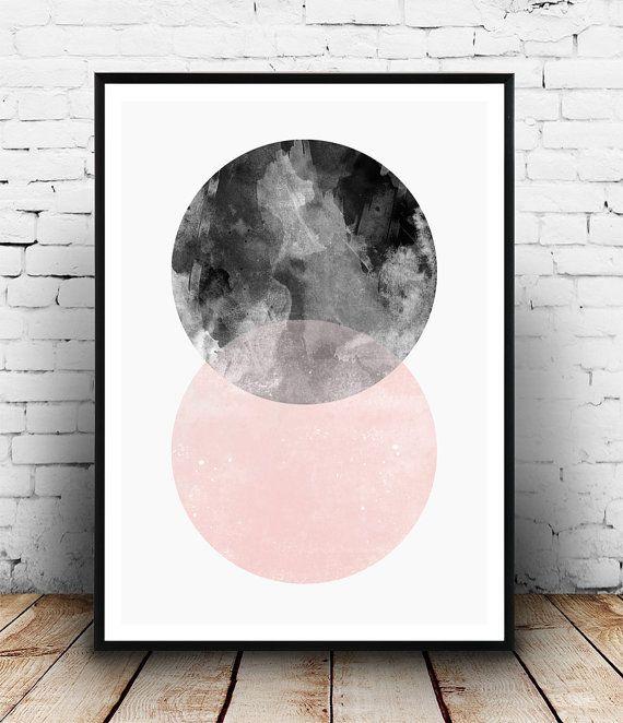 Geometric poster, abstract wall print, minimalist art, scandinavian design, pink and black, watercolor art, modern art, home decor, boho