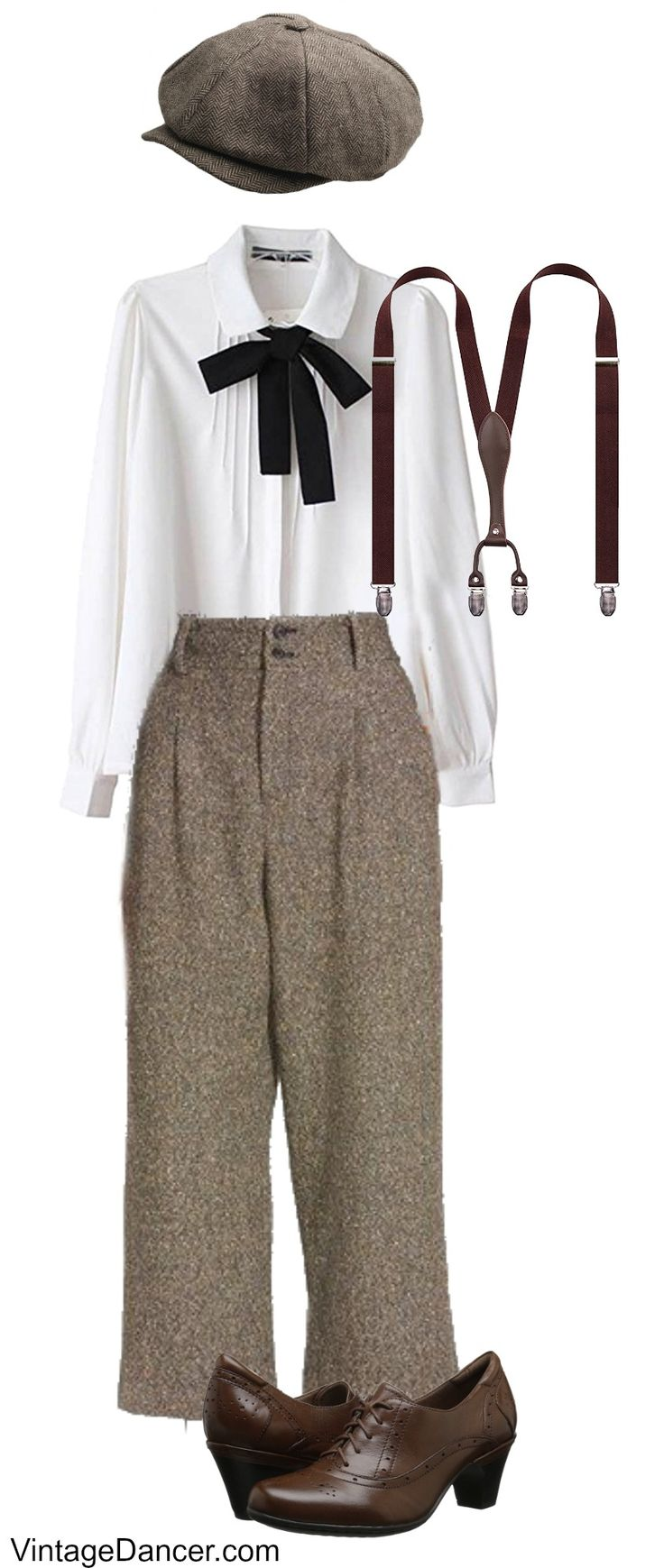 1920s gangster outfit for women, 20s pants costume