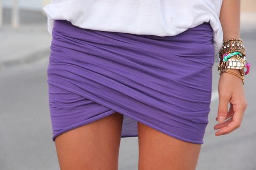 purple wrap skirt with a colorful wrist candy