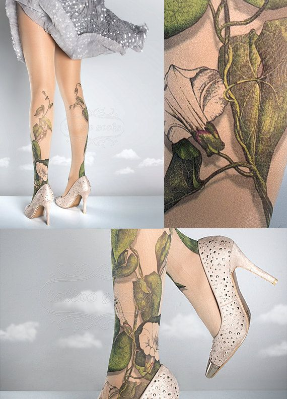 Tattoo Tights -  Climber Plant nude one size full length closed toe pantyhose tattoo socks ,printed tights