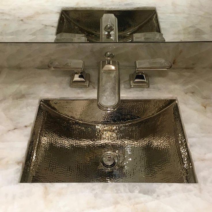Ultra glamorous nickel and quartzite fixtures & sink @sherlewagner   #sherlewagner   #naturalmaterials #interiordesign #installday #luxury #luxuryliving #luxuryrealestate #luxurymaterials #custom #custommade #bespoke #bespokedesign #douglasdesignstudio