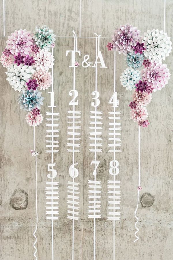 Ignore the seating plan - just reference for hanging paper flowers
