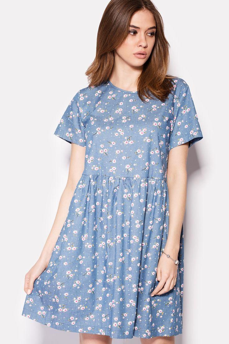 Купить джинсовое платье FEBOX в цветочек в фасоне беби-долл в брендовом бутике TM CARDO