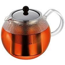 Bodum Assam Tea Press - The stainless steel patented press system completely stops the brewing process. The tea pot is made of borosilicate glass, is heat resistant, dishwasher safe and has a dripless spout.   Avaliable in 0.5 and 1 litre capacity