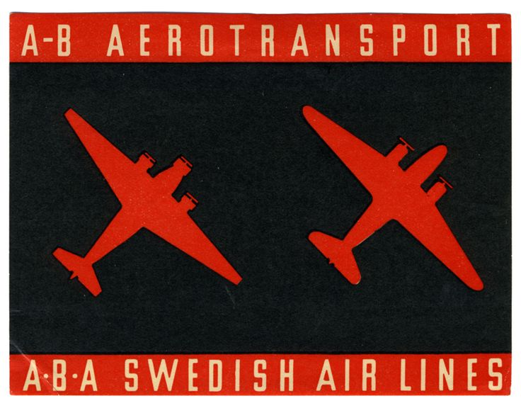 A-B Aerotransport - ABA Swedish Airlines (Luggage Label) by Artist Unknown | Shop original vintage luggage labels online: www.internationalposter.com #luggagelabels