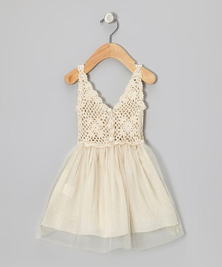 Cream Tulle & Crochet Dress | Bebe Culture $50