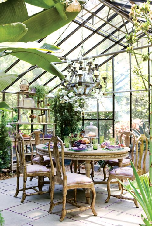 One day I WILL have a conservatory/sunroom/greenhouse.   And now I must insist that it also have inappropriately fancy lighting.  Thanks pinterest.