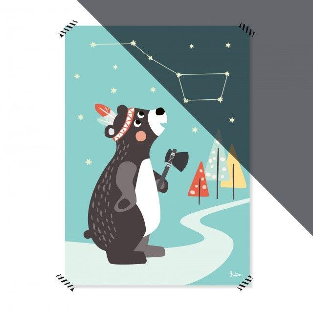 Julica-design NACHTLEUCHTENDES Poster Großer Bär