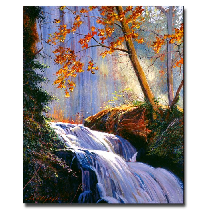 This ready to hang, gallery-wrapped art piece features a waterfall. David Lloyd Glover has a 25 year international reputation exhibiting in major galleries in the US, Canada, Mexico and Japan. His wor