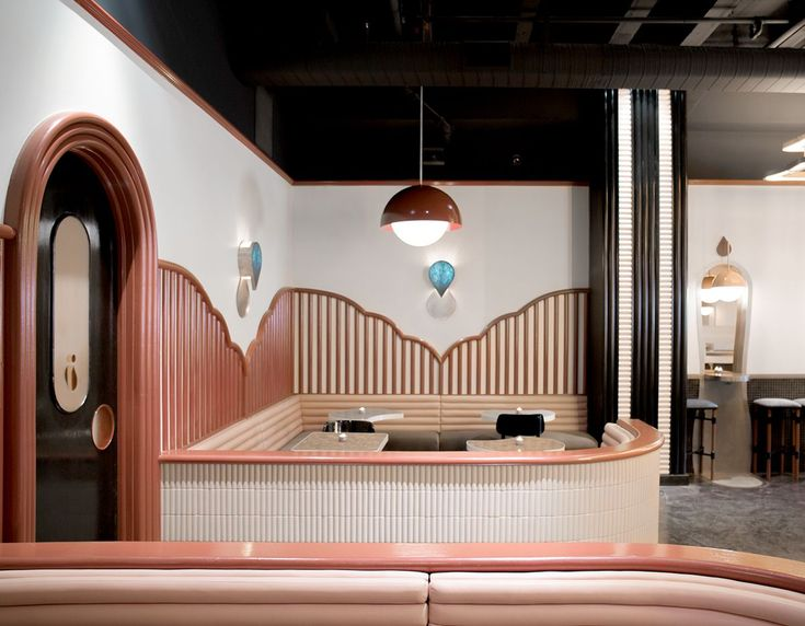 The latest (and coolest) bar designed by Home Studios, Bibo in LA, was inspired by Memphis, Josef Hoffmann, Alvar Aalto, and French New Wave cinema. #restaurantdesign