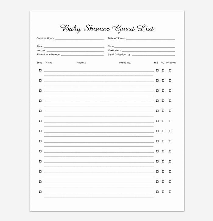 Elegant Baby Shower Invitation List Template In 2020 Baby Shower